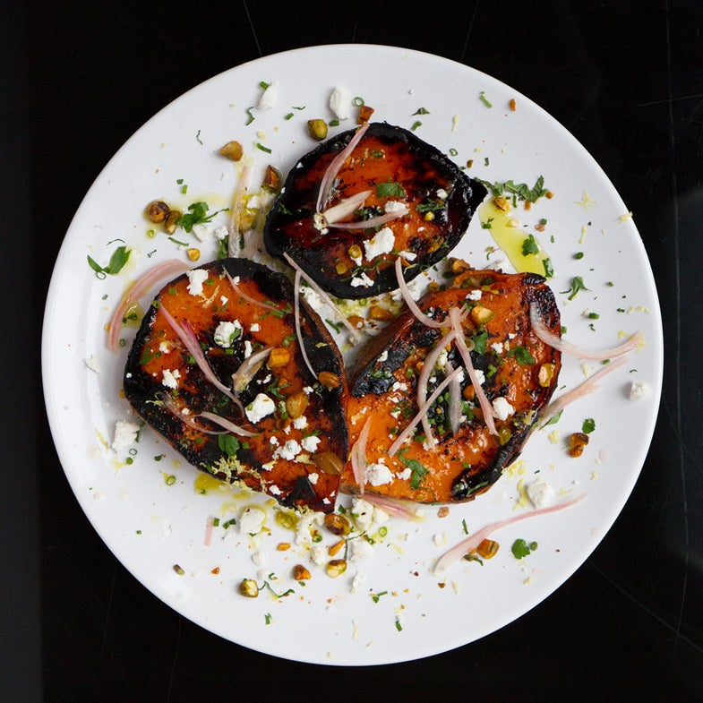 Charred Sweet Potatoes with Pickled Shallots, Pistachios, and Ricotta Salata