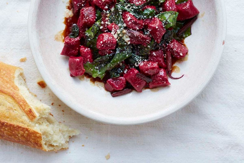 Beet and Ricotta Gnocchi with Wilted Beet Greens and Aged Balsamic