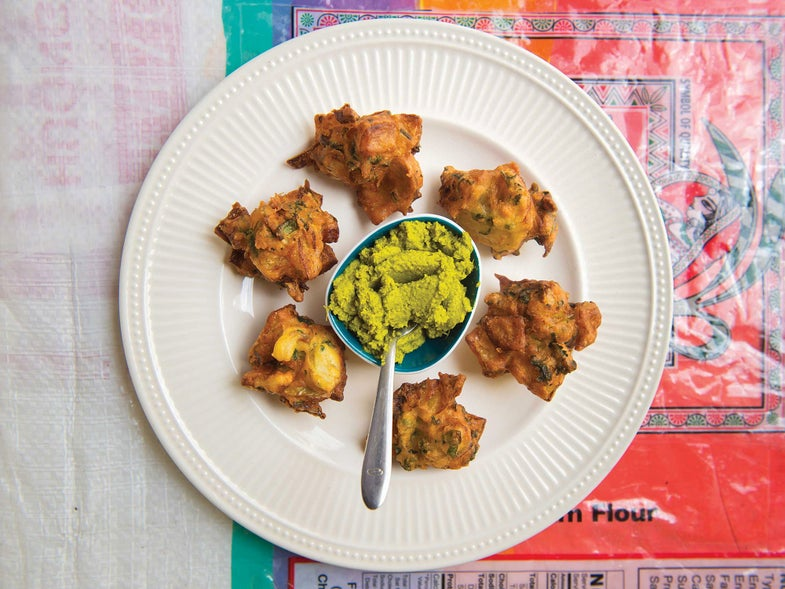 Chickpea Fritters with Coconut Chutney