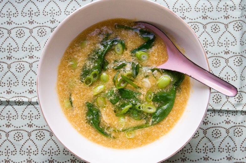 Spinach and Edamame Egg Drop Soup