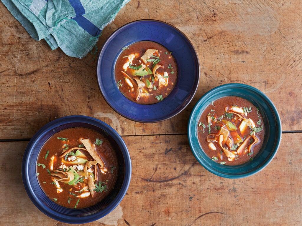 Ancho Chile Soup with Avocado, Crema, and Chile Pasilla (Sopa de Chile Ancho)