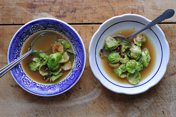 Crisp-Tender Brussels Sprouts in 7-Spice Broth