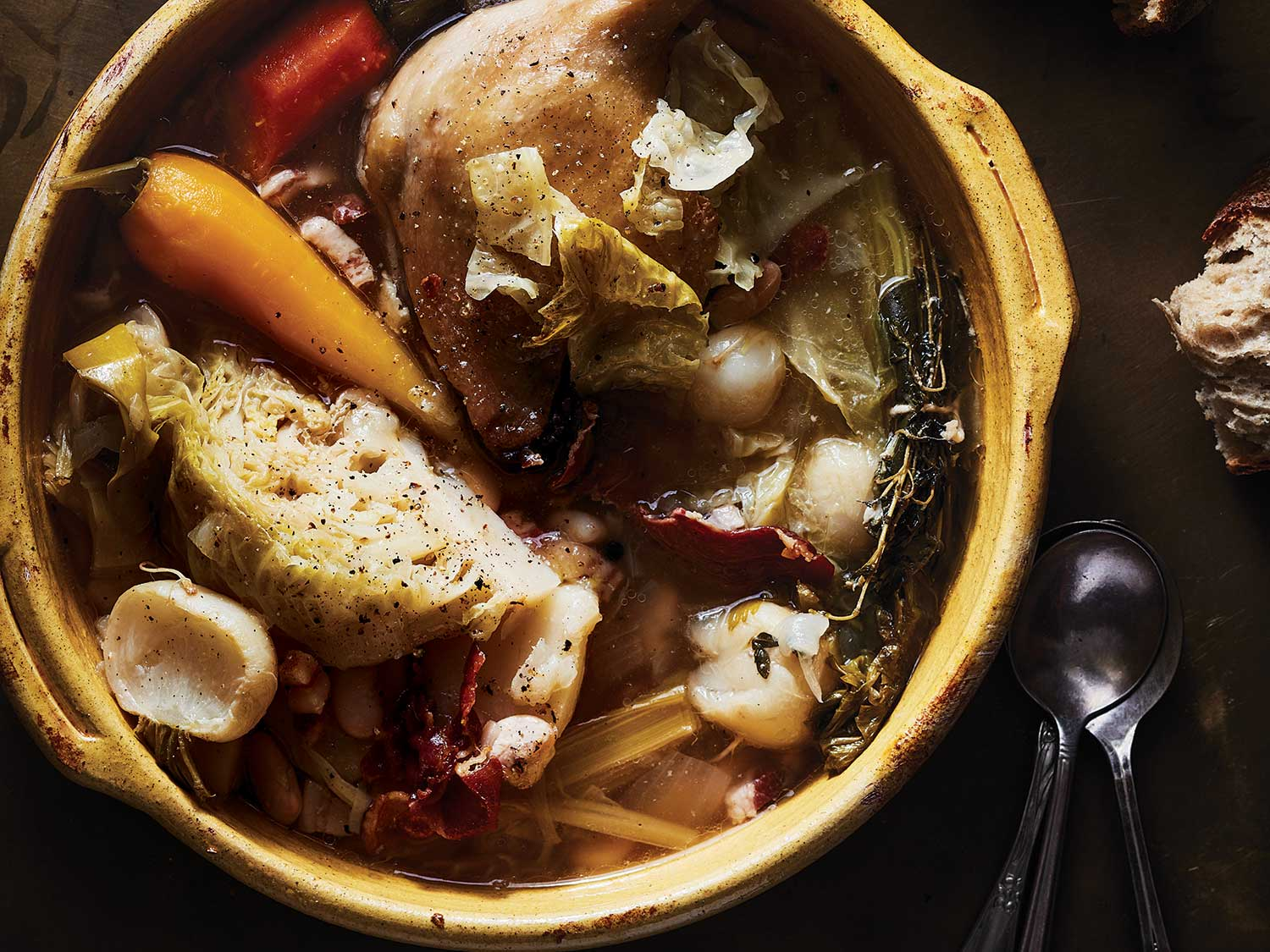 Hearty Vegetable Stew with Duck Confit and Cabbage (Garbure Gasconne)