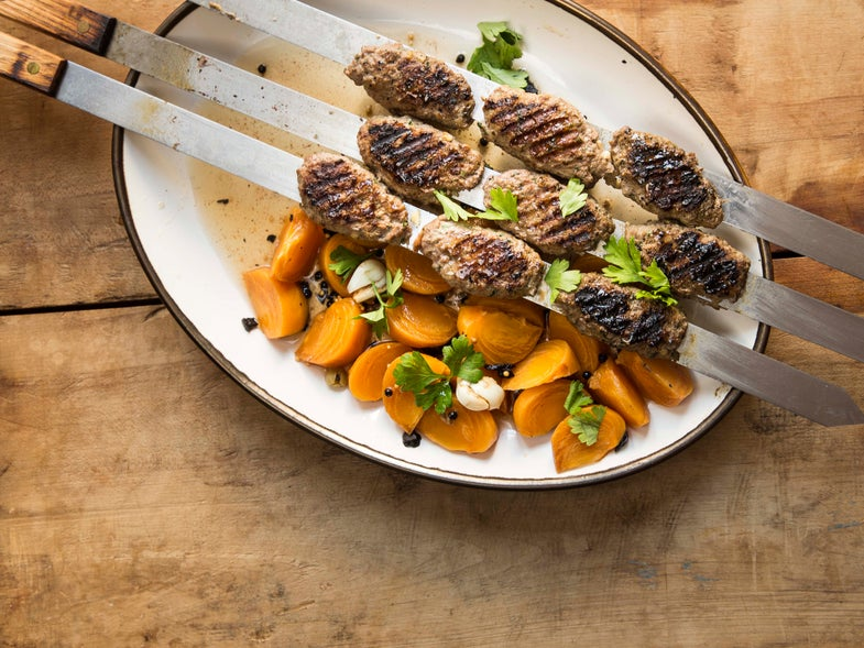 Grilled Beef Kebabs with Pickled Persimmons