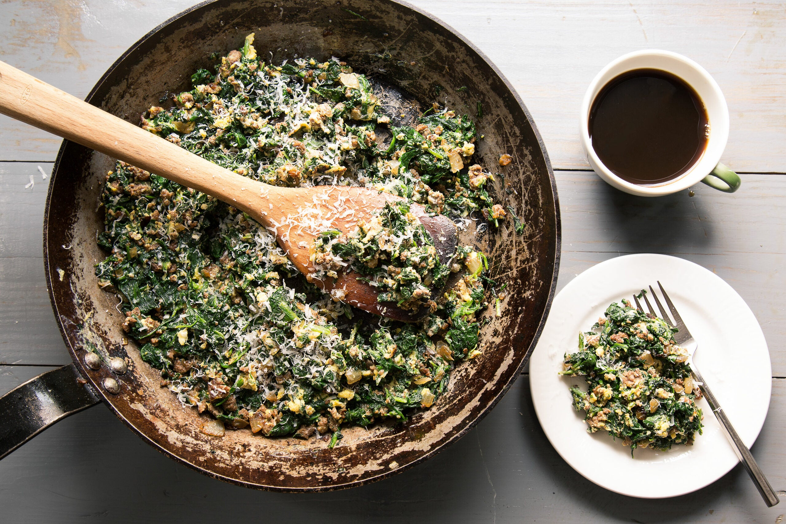 Spinach, Beef, Egg Hash