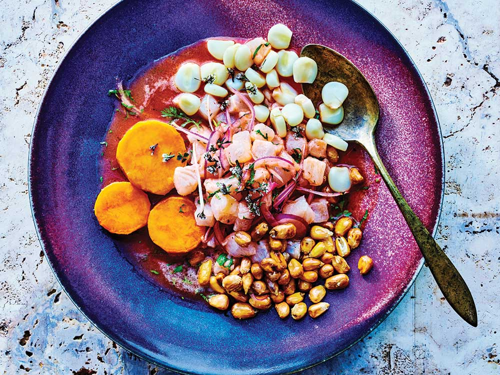 Peruvian Street Cart Ceviche with Sweet Potato and Toasted Corn (Ceviche Carretillero)