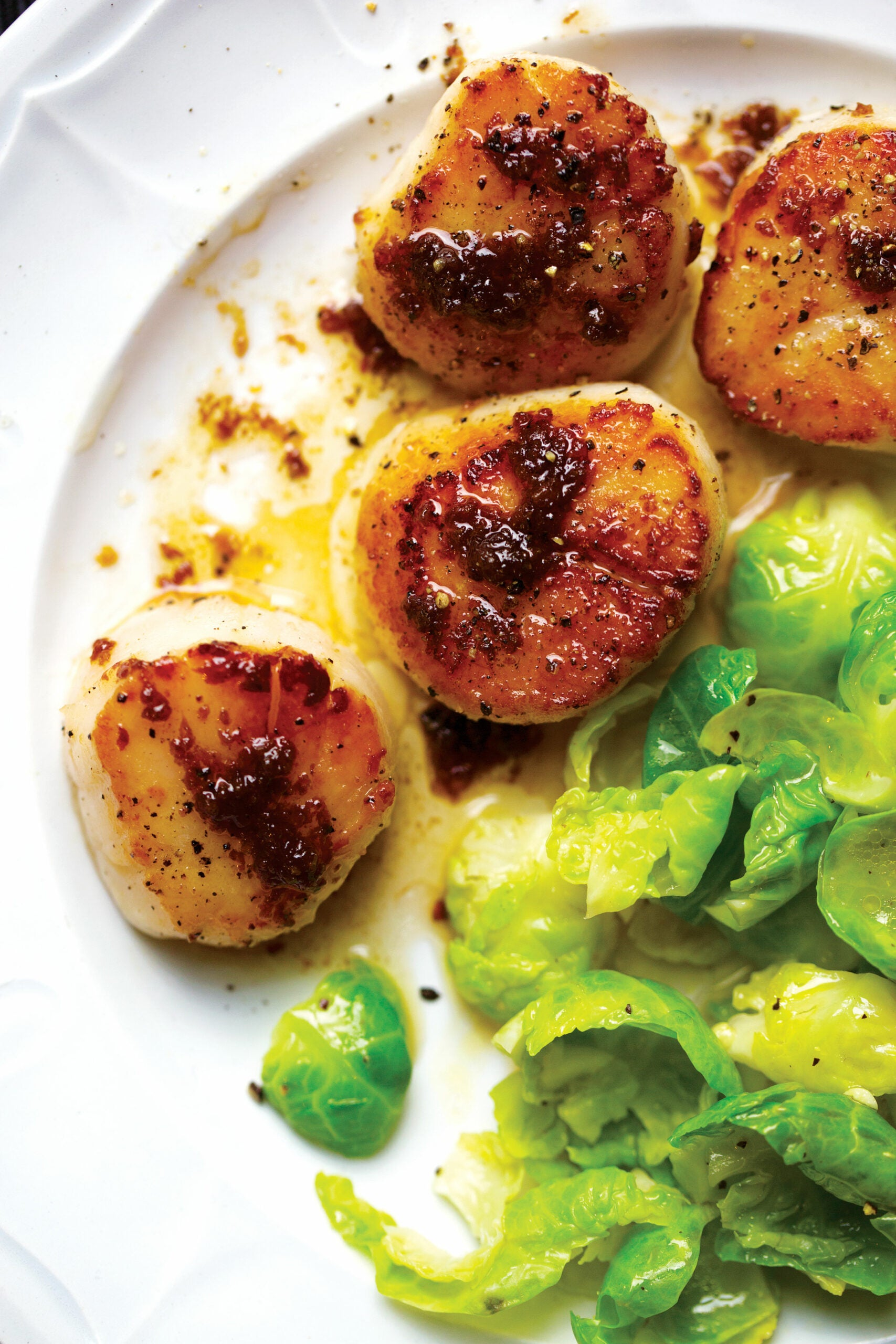 Seared Scallops with Steamed Brussels Sprout Leaves