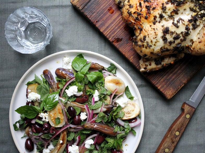 Rainy Day Chicken with Eggplant Salad