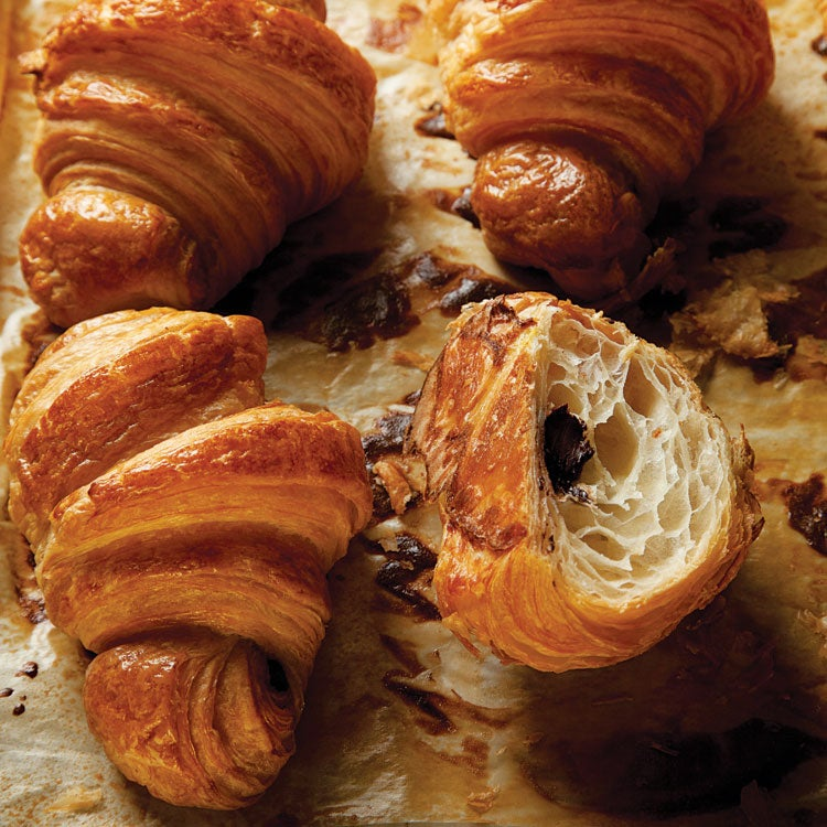 Flaky croissants filled with dark chocolate