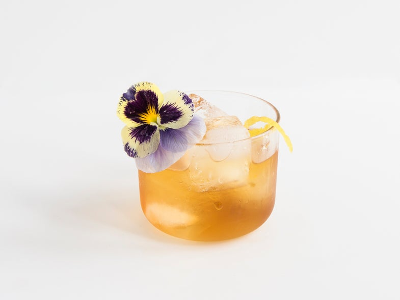 Floral Old Fashioned Cocktail