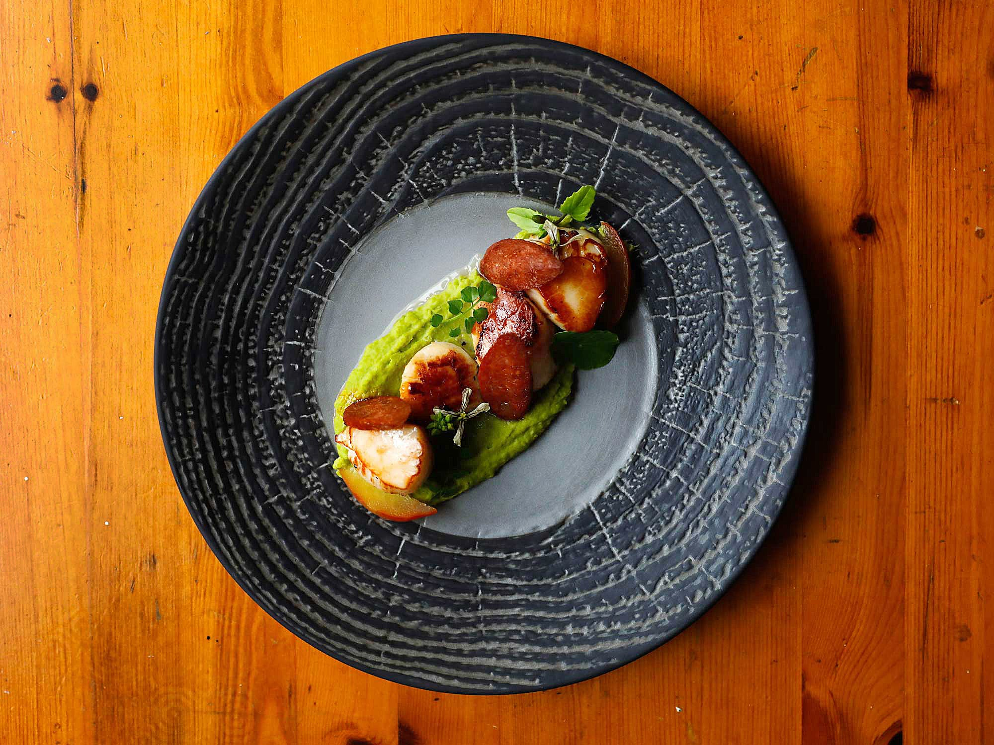 Seared Bay Scallops with Pea Purée and Radishes