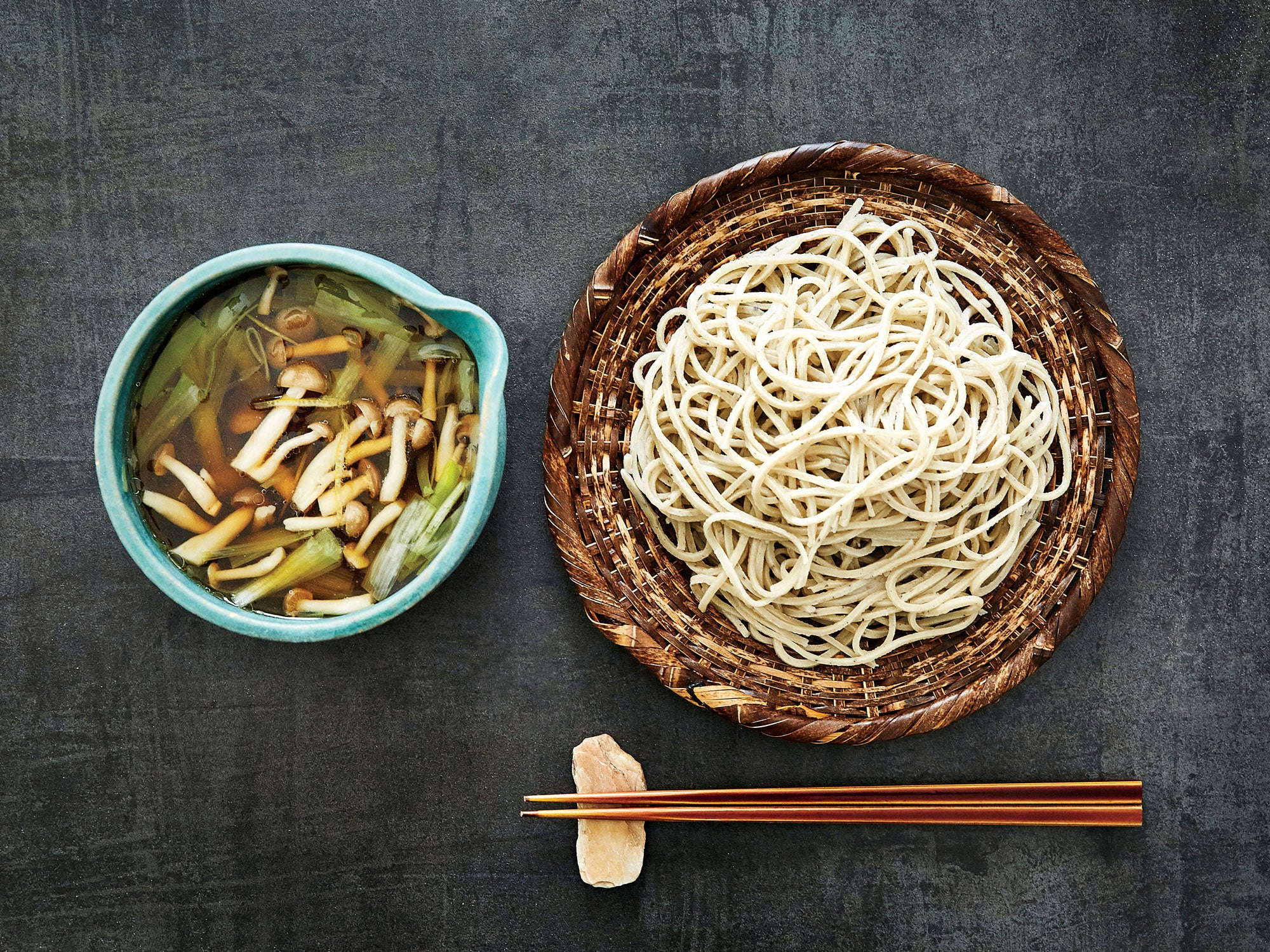 Cold Soba with Mushroom and Leek Seiro Broth