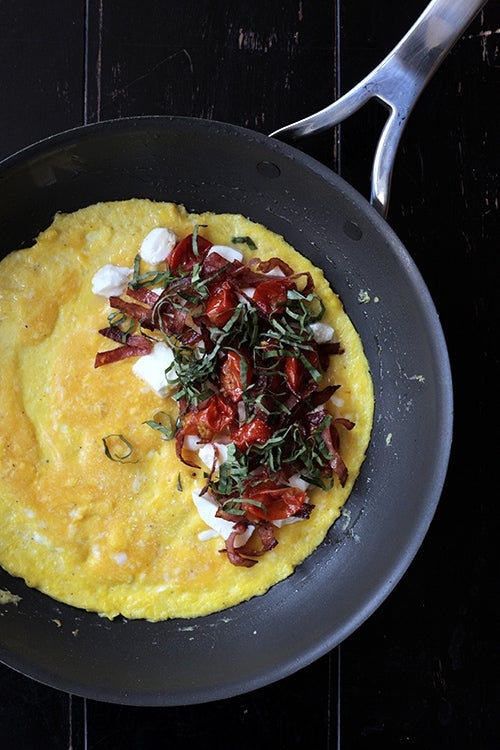 Salami, Oven-Roasted Tomato, Mozzarella, and Basil Omelette