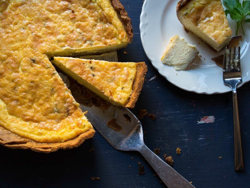 sliced quiche loaded with blue cheese