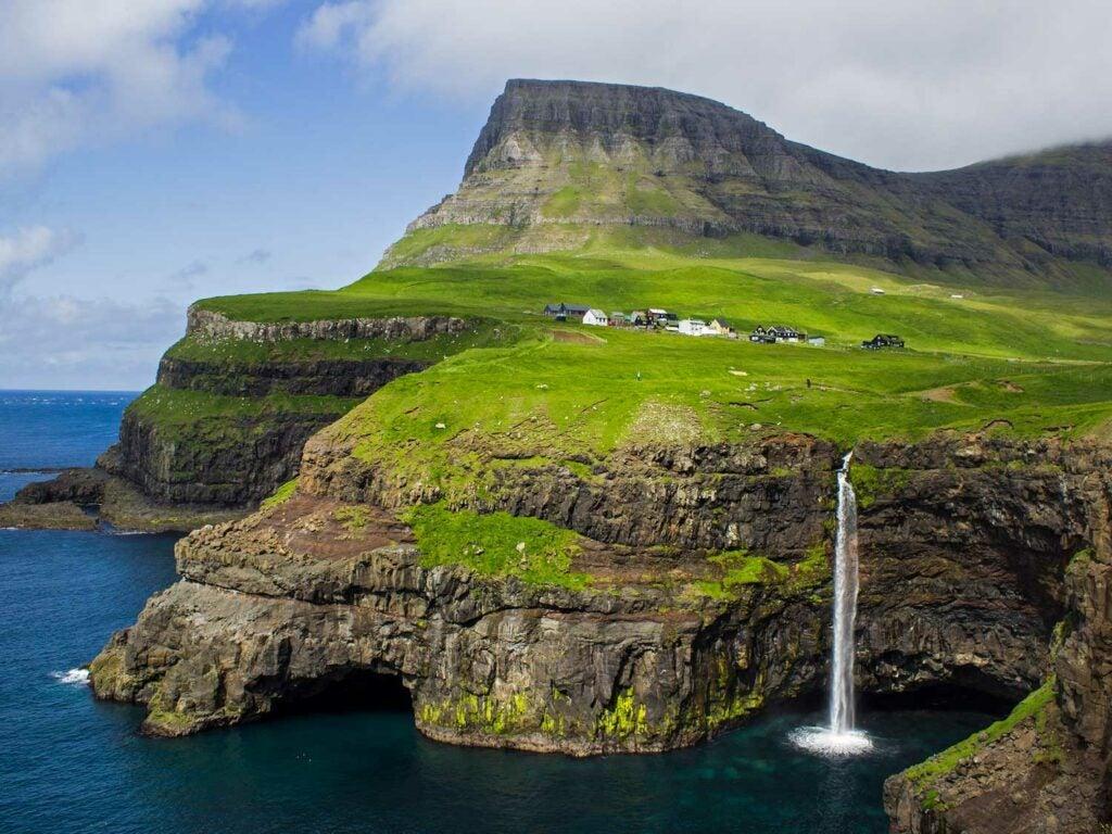 The village Gásadalur on Vágar, Faroe Islands