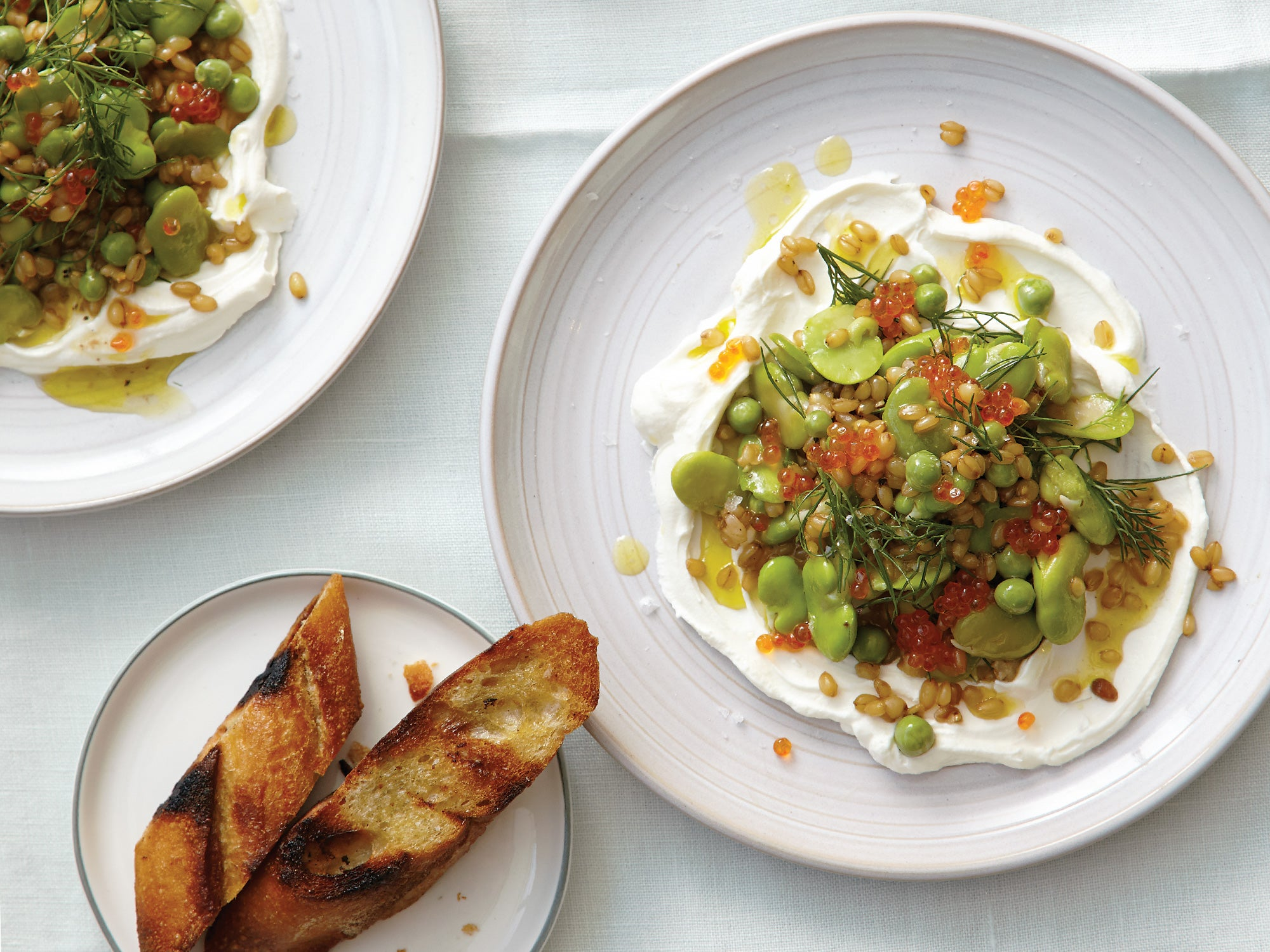Warm Wheat Berry Salad with Fava Beans and Trout Roe