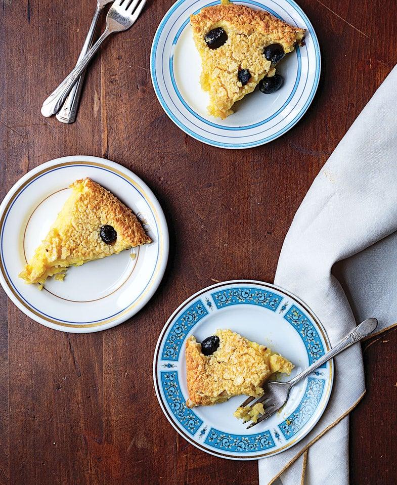 slices of black olive cake