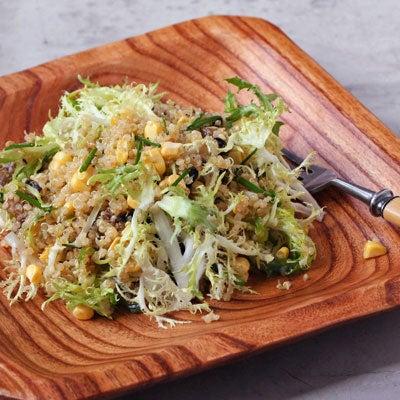 Quinoa Salad with Frisee, Eggplant, and Corn
