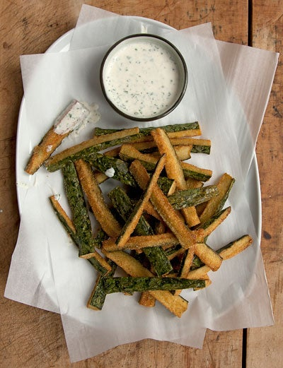 Fried Cucumbers with Sour Cream Dipping Sauce