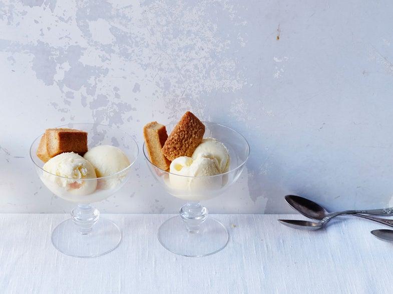 Sea Salt Ice Cream with Cornbread Financiers