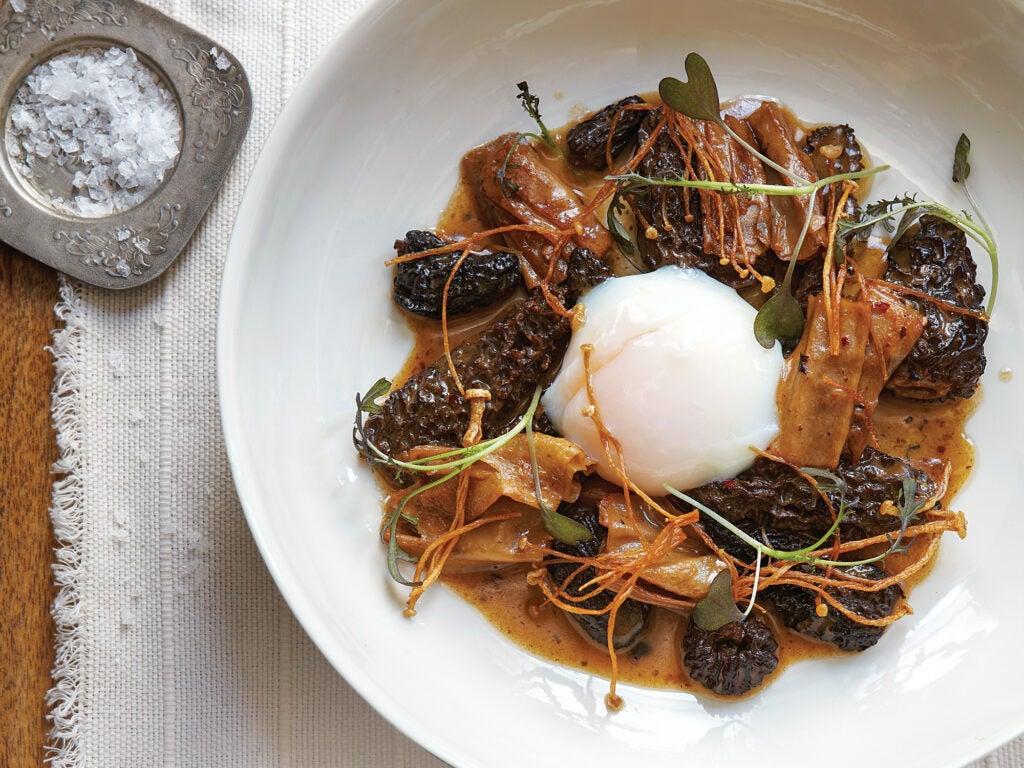 Morels with Fried Enoki Mushrooms and Tofu Skins