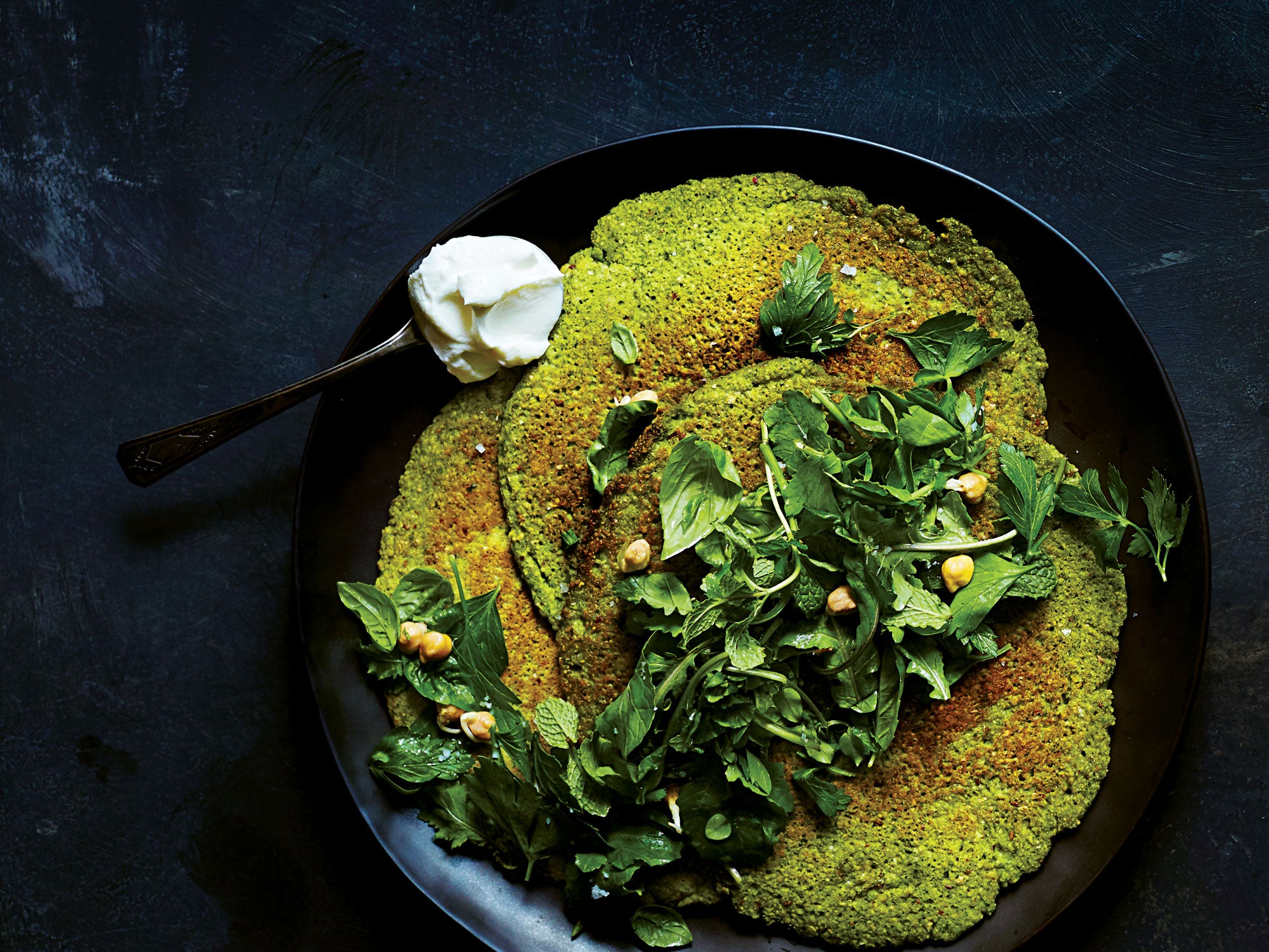 Sprouted Chickpea Socca with Herb Salad and Yogurt