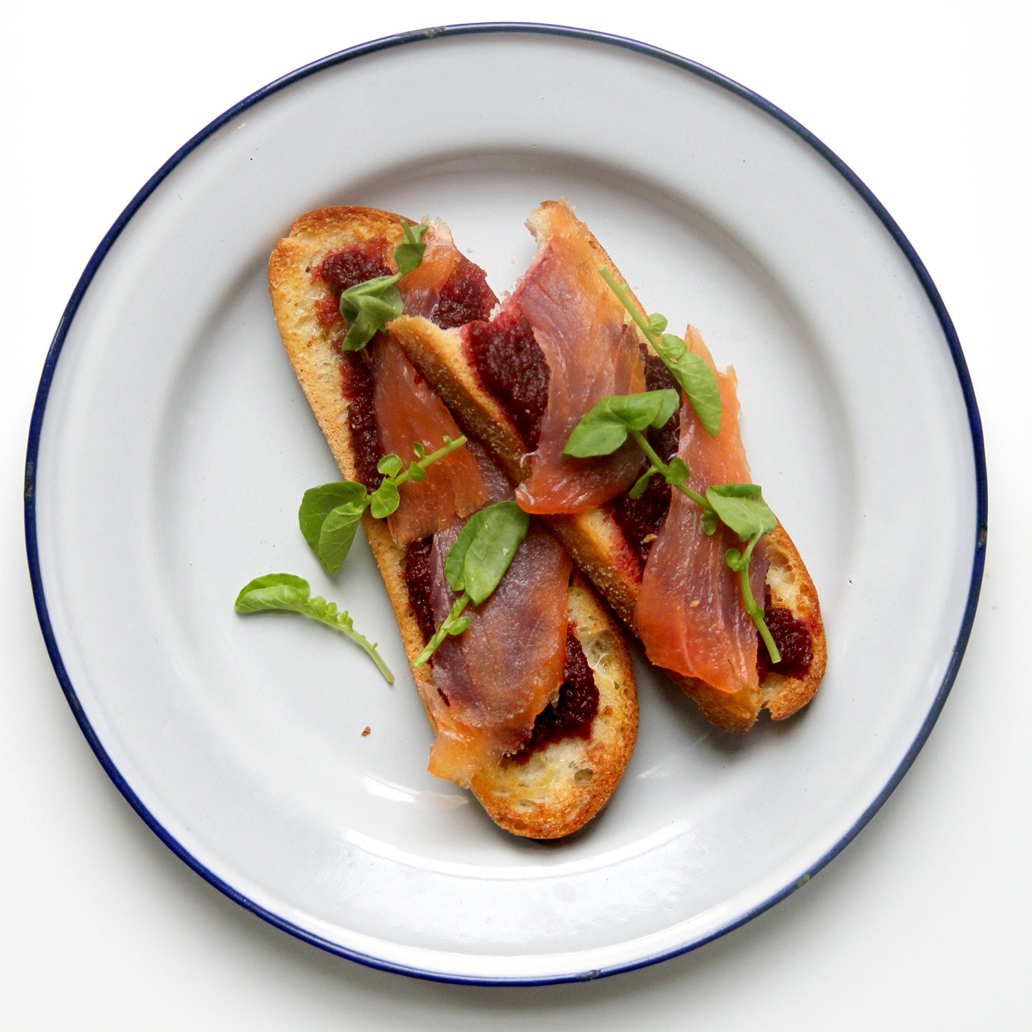 Toast with Roasted Beet Dip, Smoked Salmon, and Watercress