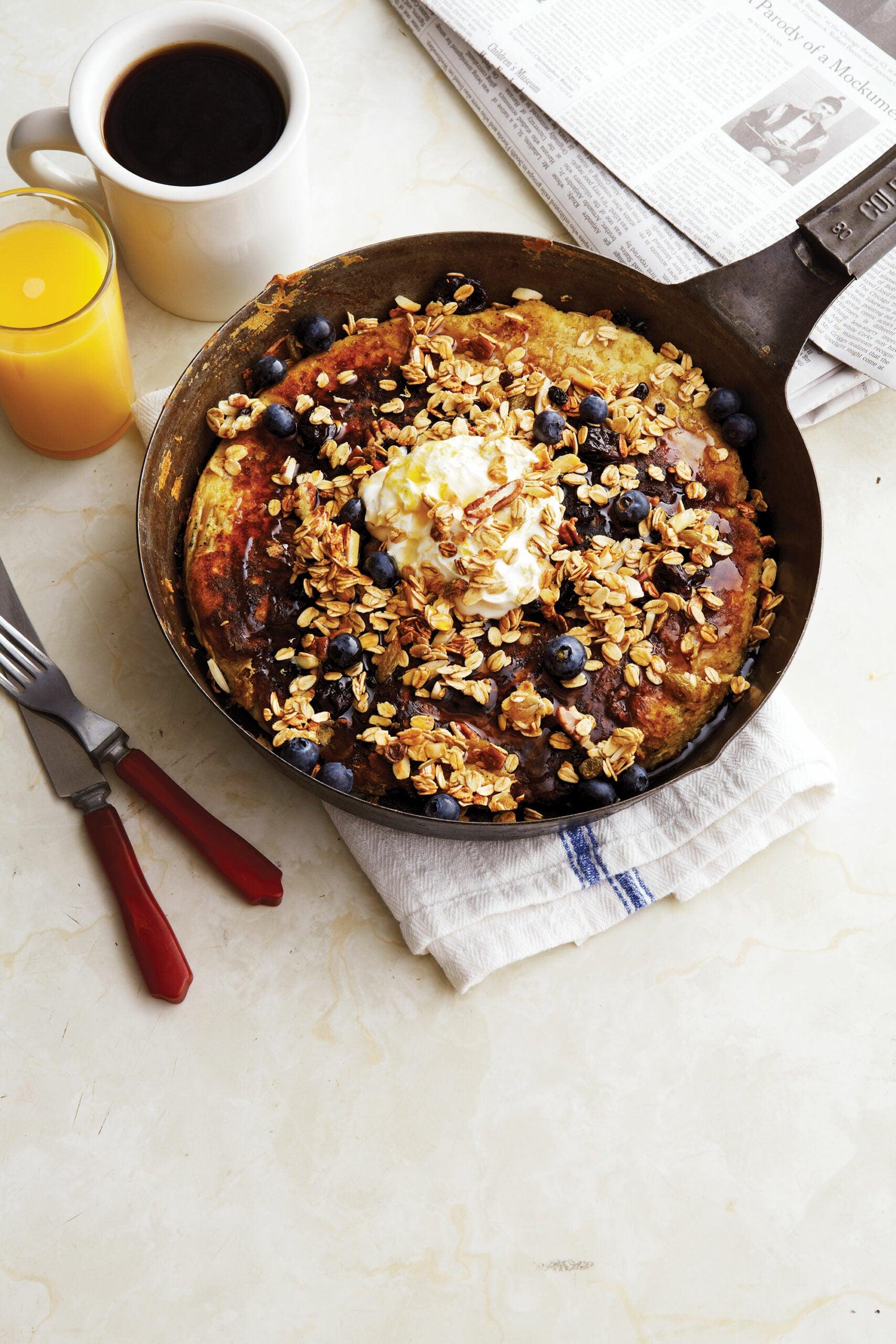 Blueberry Quinoa Pancakes with Lemon Crema, Breakfast