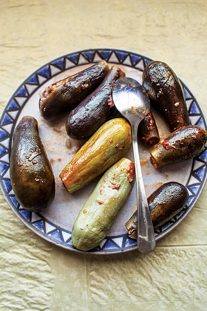 Batenjen Mehchi (Lebanese Lamb-Stuffed Eggplant)