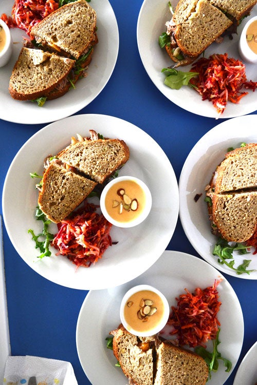 Peach-Braised Pulled Pork Sandwiches with Dijon-Peach Spread