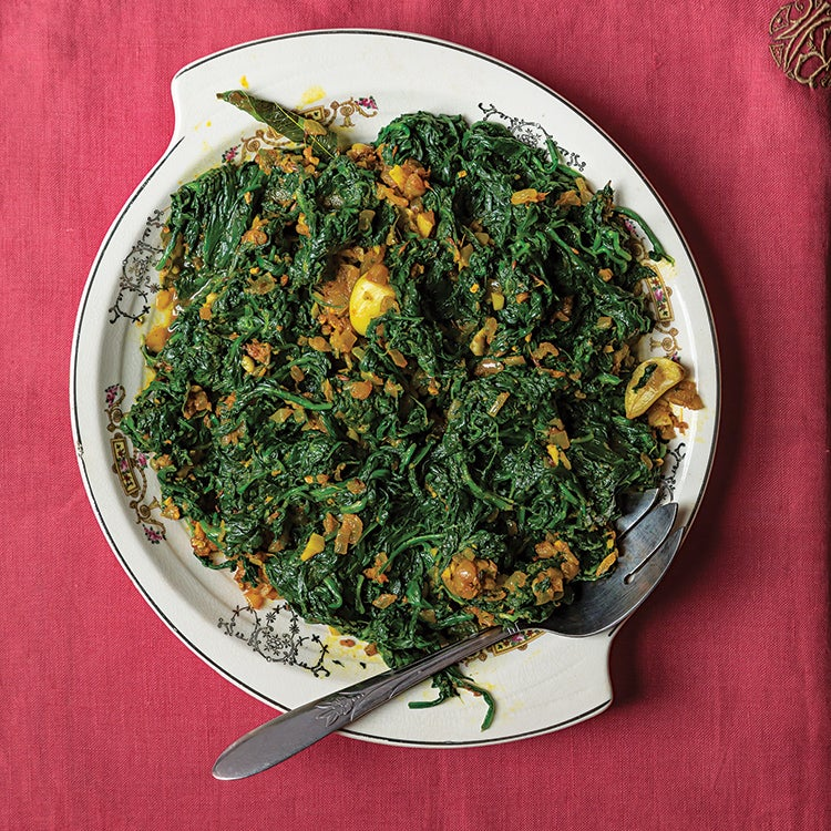 Andhra-Style Sautéed Spinach (Palakoora Vepadu)
