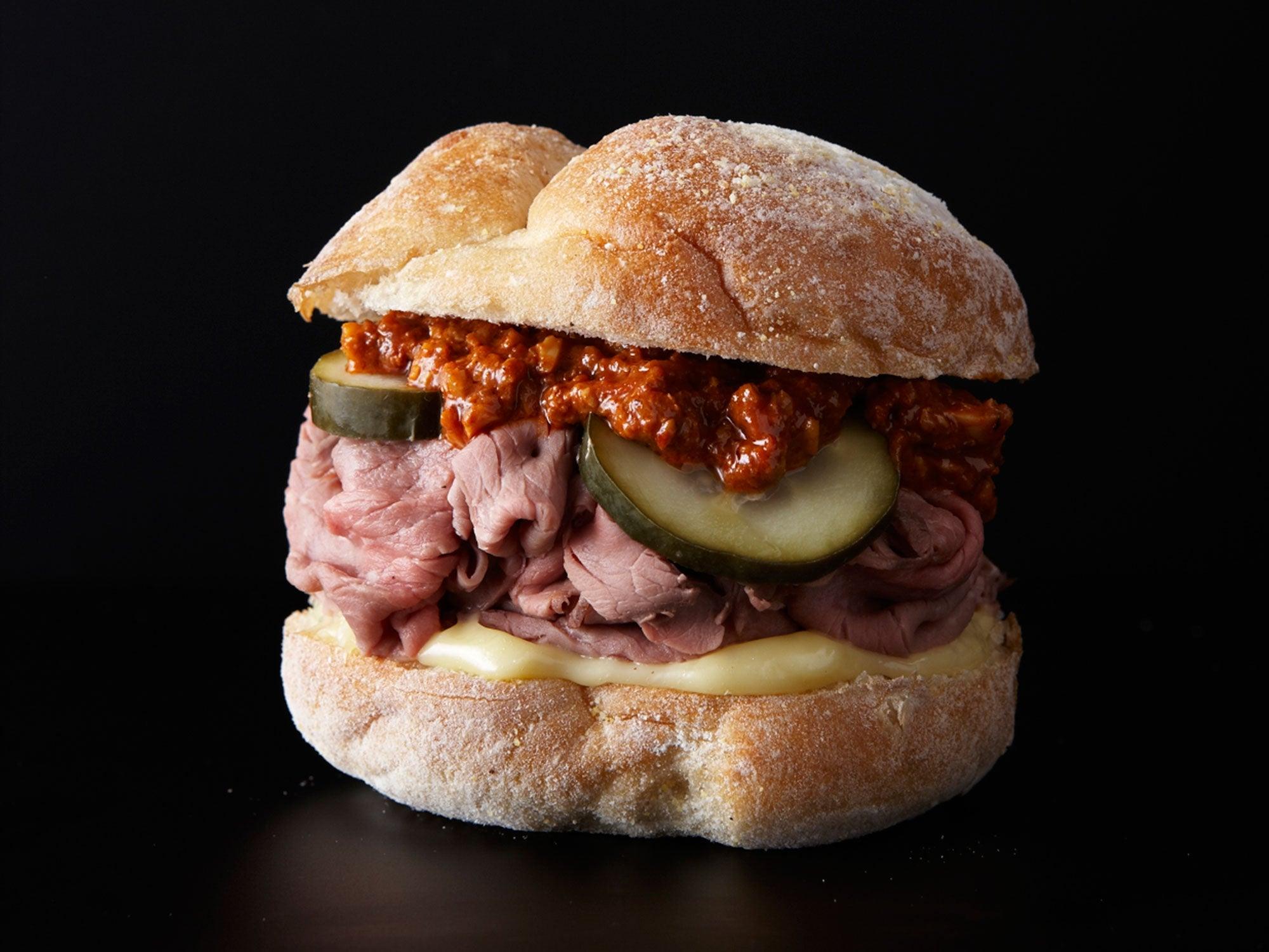 Roast Beef Sandwich with Walnut Romesco