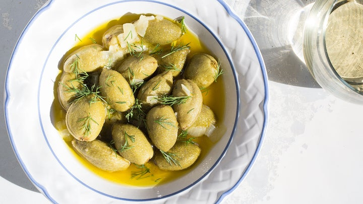 Olive Oil-Poached Green Almonds with Dill