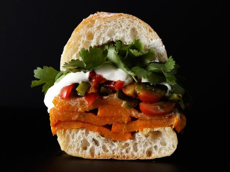 Roasted Sweet Potato Sandwich with Rajas Salsa