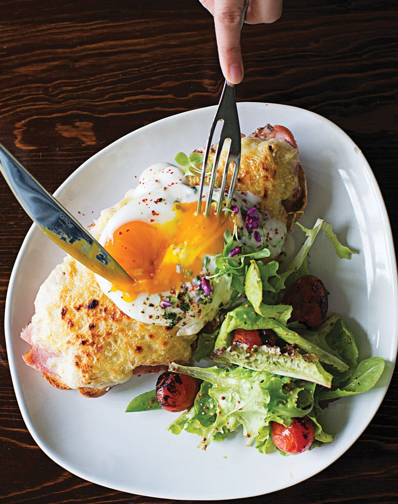 Egg-Topped Ham and Cheese Sandwich (Croque Tartine Parisienne)