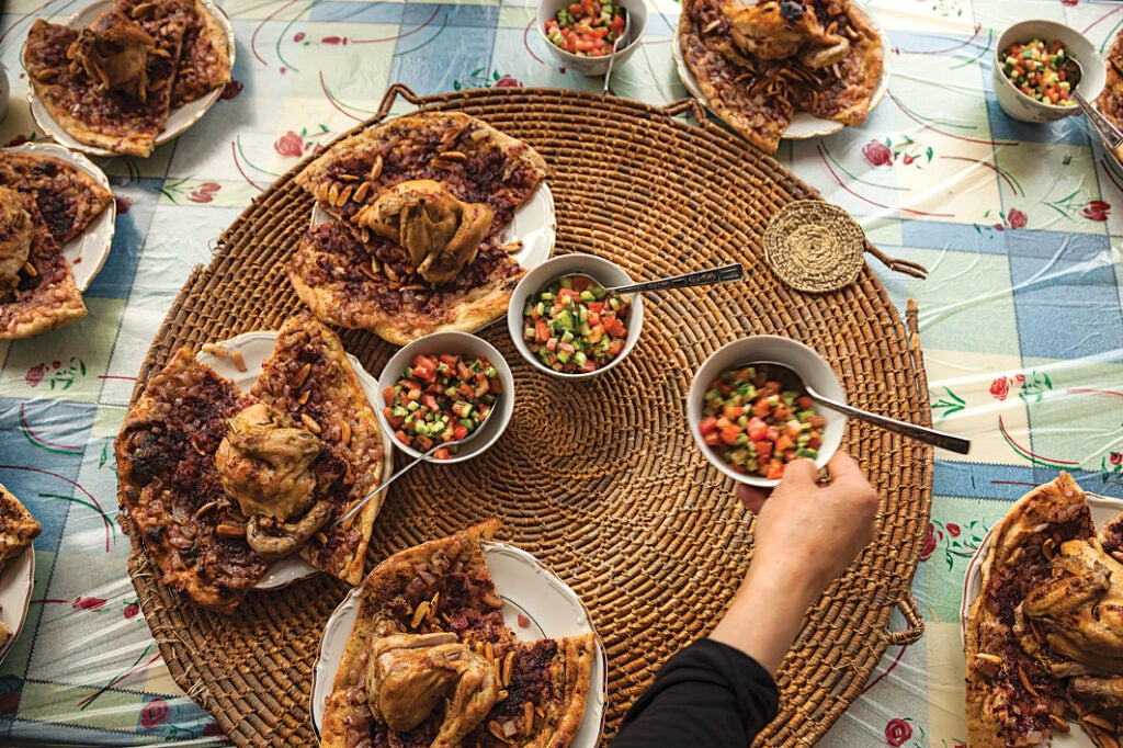 Roast Chicken with Onion and Sumac Flatbread (M'sakhan)