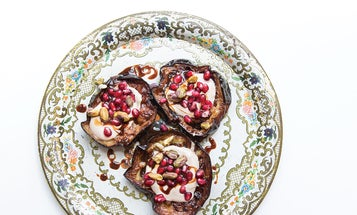 Fried Eggplant with Tahini and Pomegranate Seeds