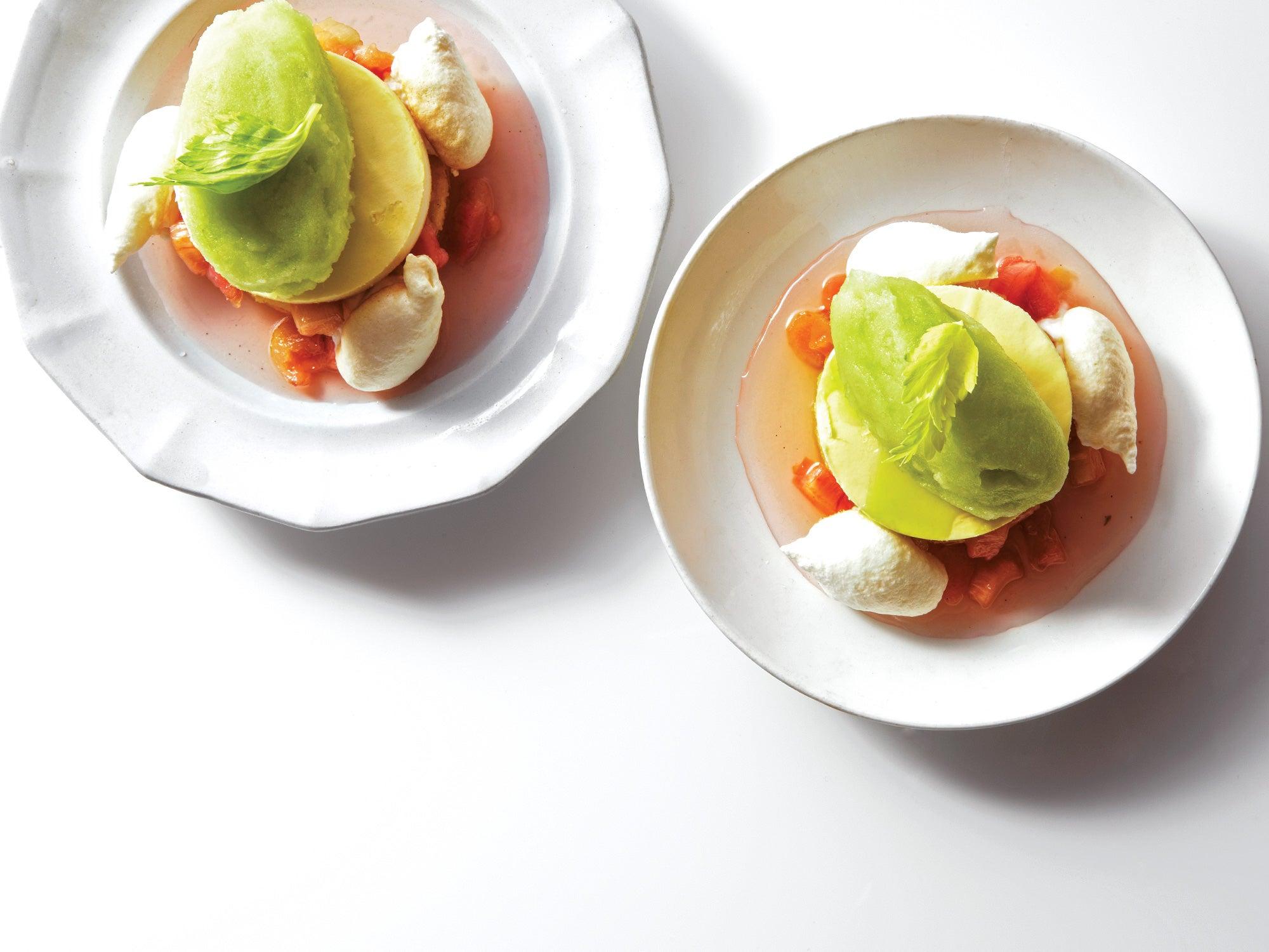 Celery and Rhubarb Vacherin