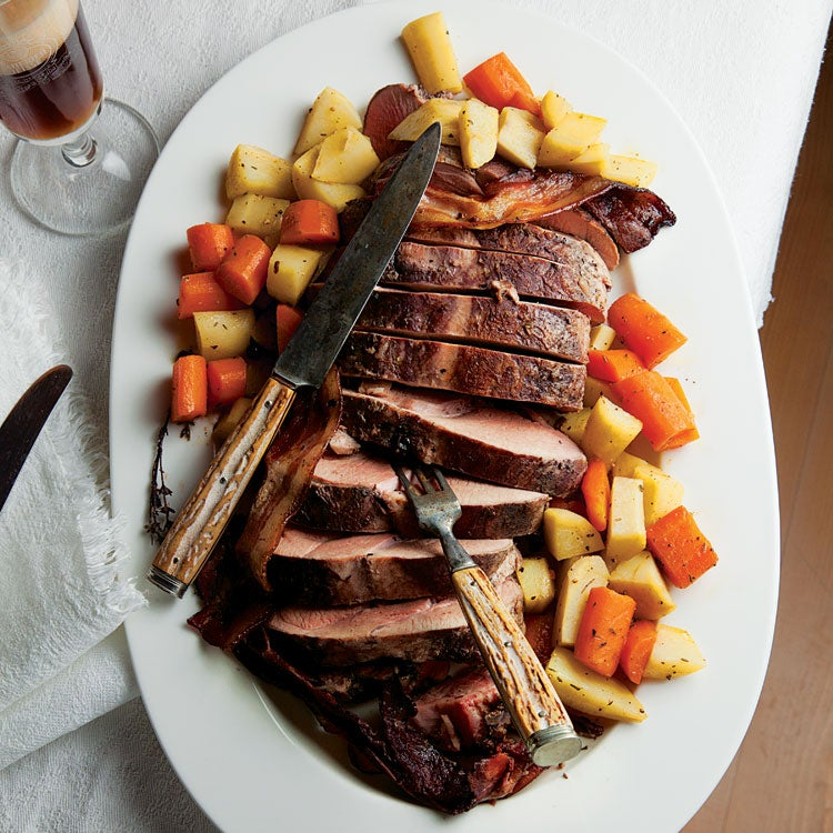 Braised Pork Roast with Root Vegetables (Schweineschmor-braten mit Rübengemüse)