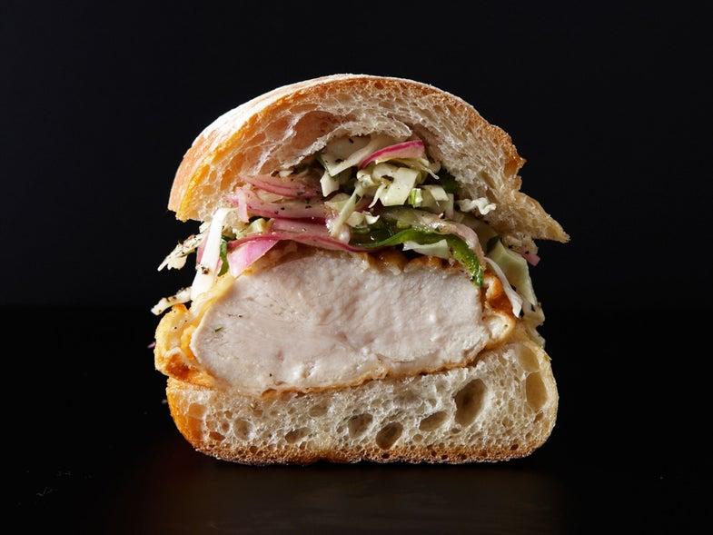 Buttermilk Fried Chicken Sandwich with Jalapeño Slaw