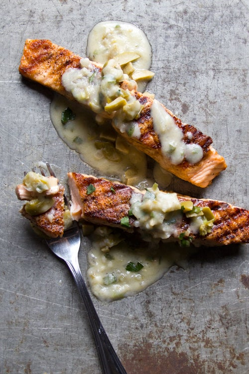 Salmon with Green Olive and Ramp Beurre Blanc