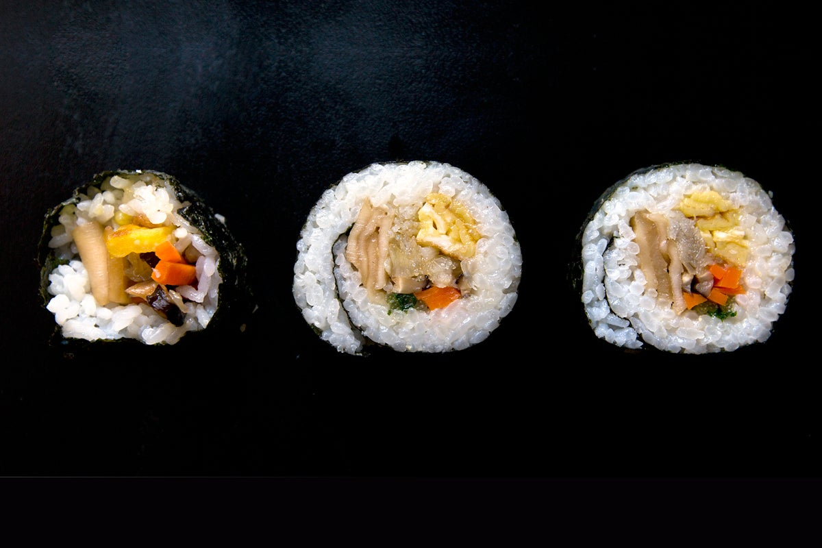 Nori Maki (Nori Rolls with Japanese Omelette, Shiitake Mushroom, and Halibut)