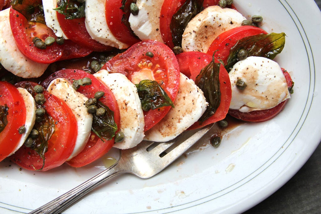 Caprese Salad with Fried Capers and Basil