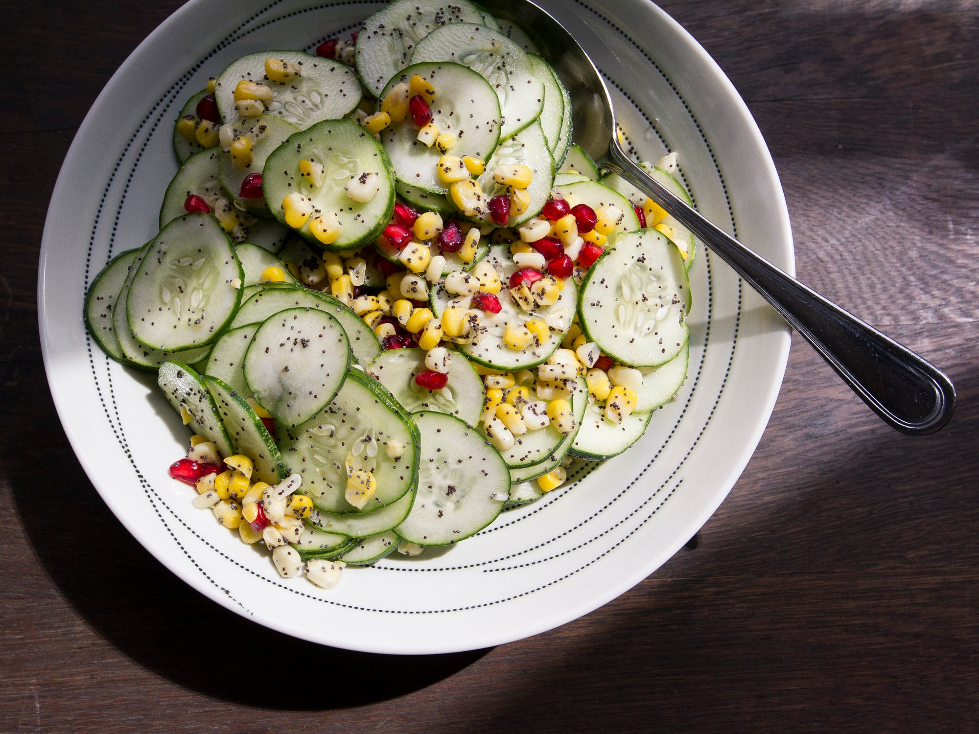 Cucumber and Corn Salad with Pomegranate and Poppy Seeds