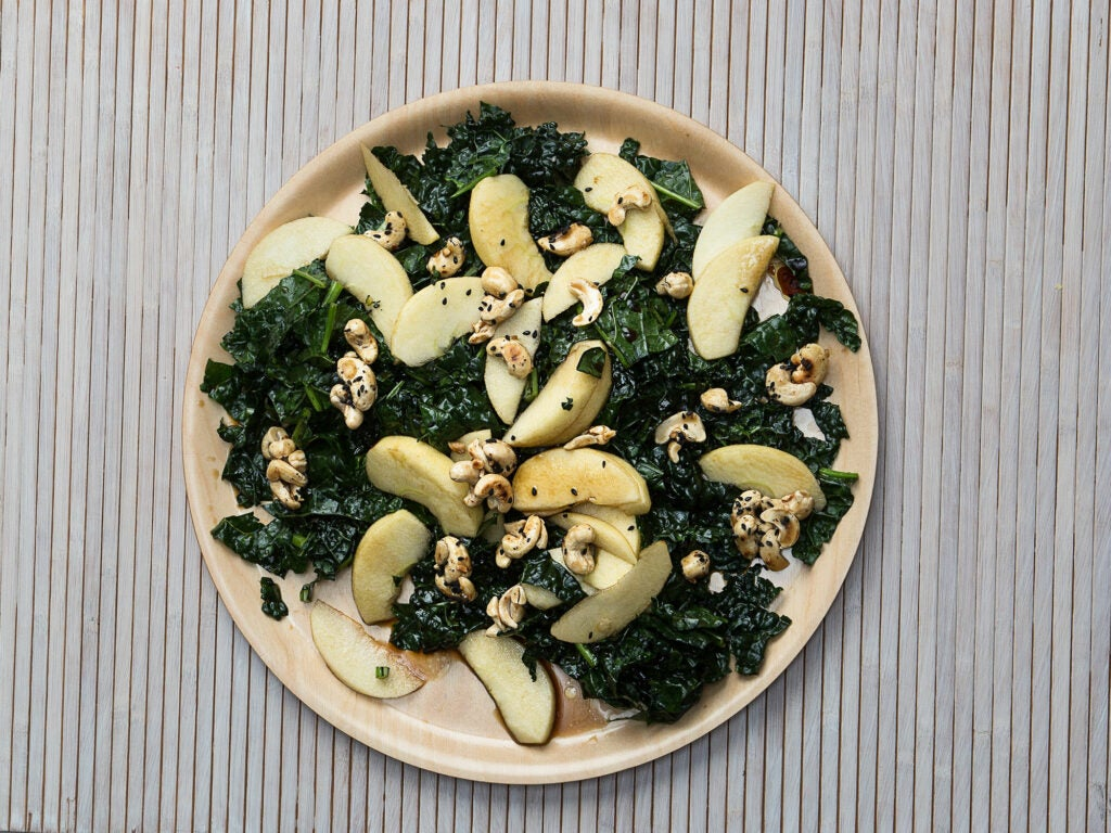 Apple and Kale Salad with Black Sesame and Cashews