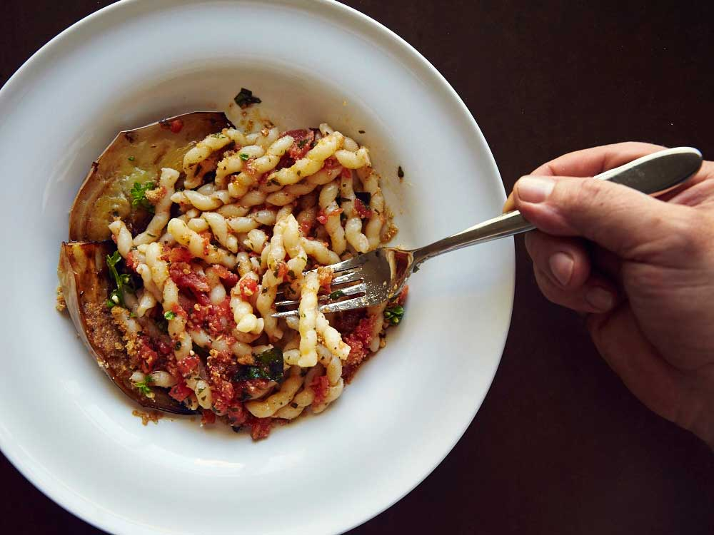 Corkscrew Pasta with Eggplant and Tomato-Basil Pesto (Busiate con Pesto alla Trapanese)