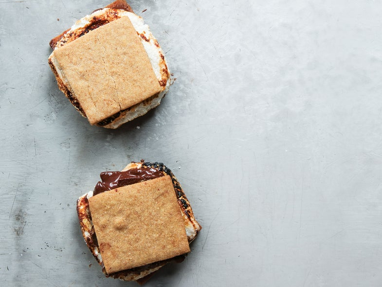 Smoked Almond S'mores with Whiskey Marshmallows