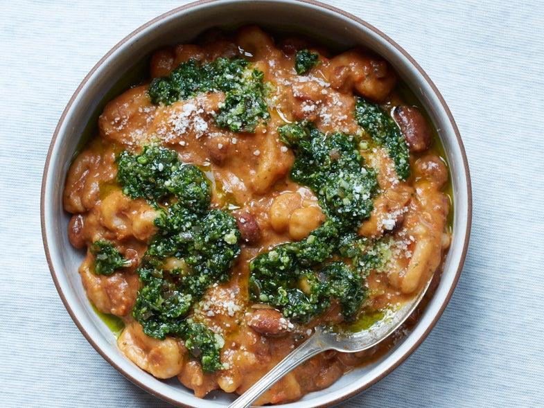 Bread Crumb Dumplings and Bean Stew with Parsley-Speck Pesto