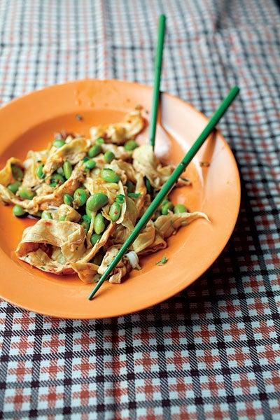Spicy Yuba Stir-Fry with Edamame