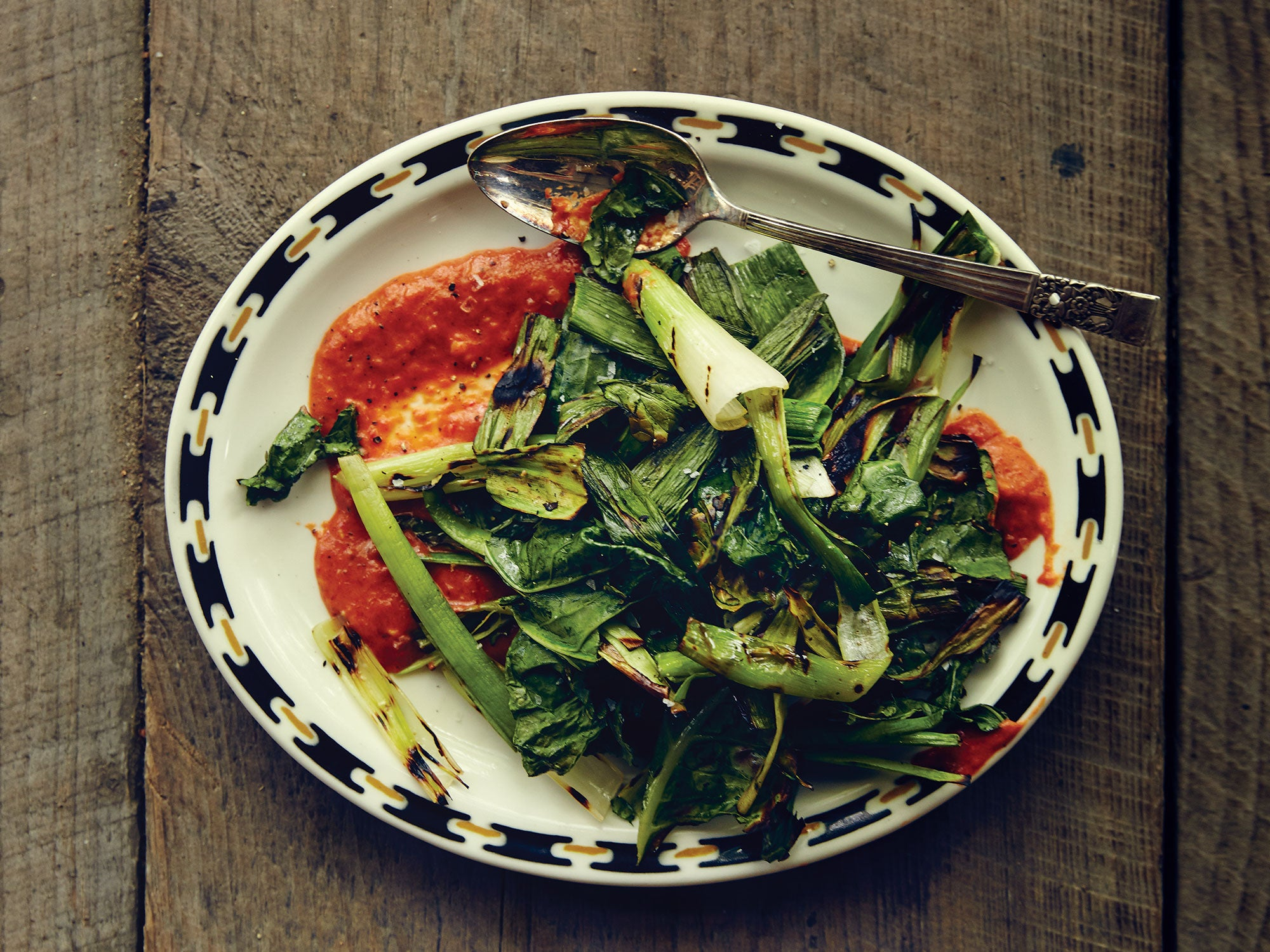 Grilled Greens and Leek Tops with Chile-Garlic Sauce